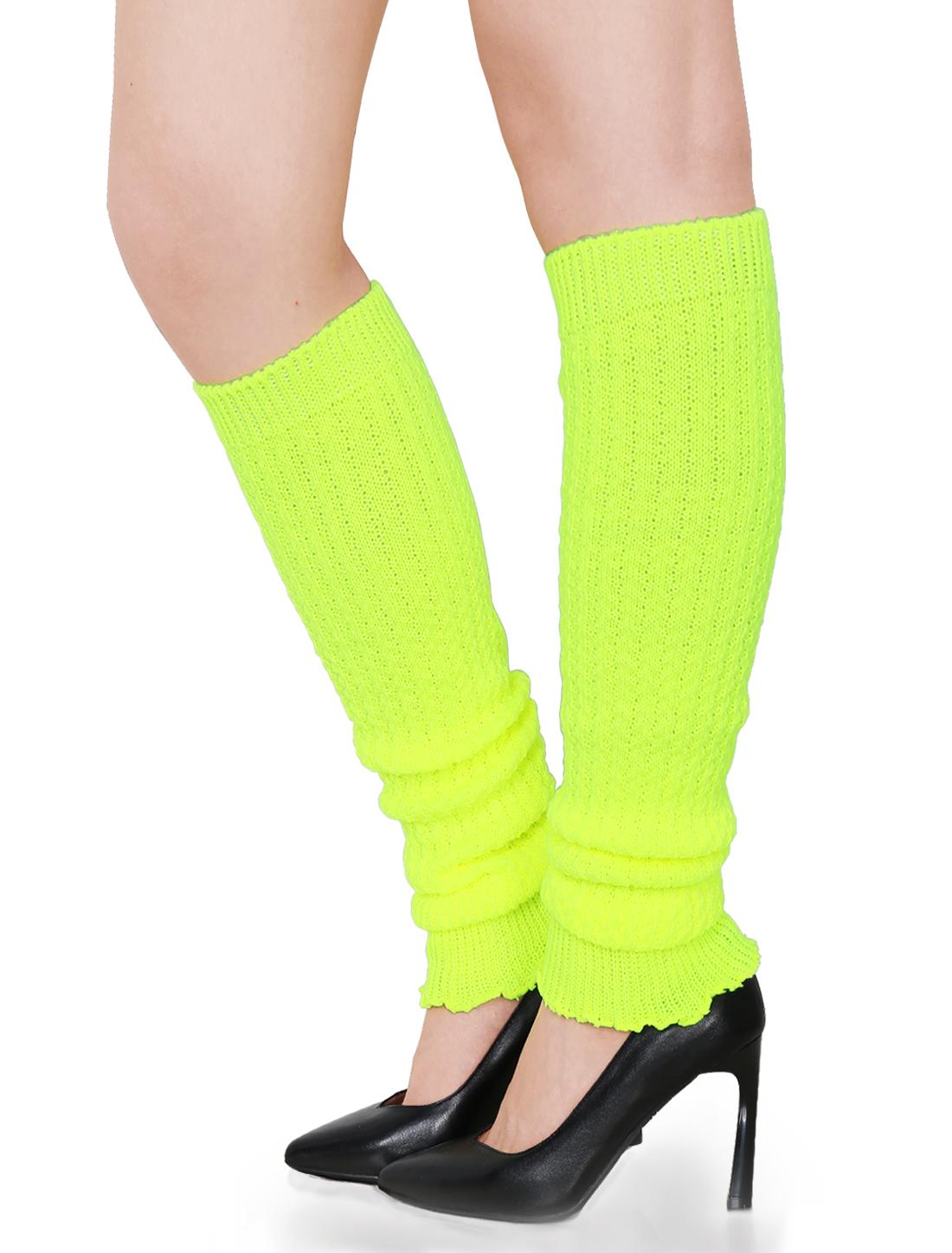 Women Toeless Design Ruffled Cuff Over Knee Knitted Leg Warmers Yellow