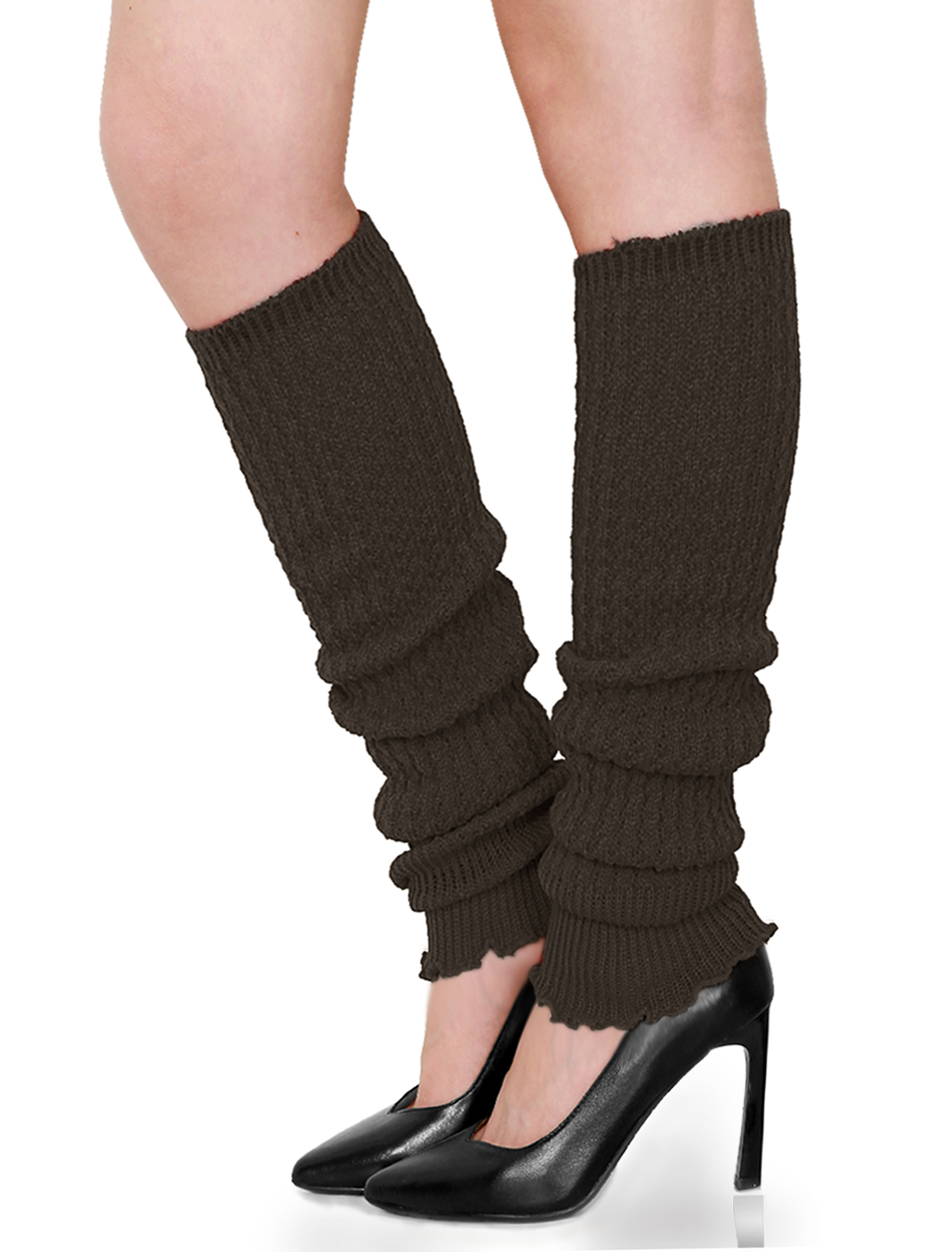 Lady Elastic Cuff Toeless Design Over Knee Knitting Leg Warmers Brown