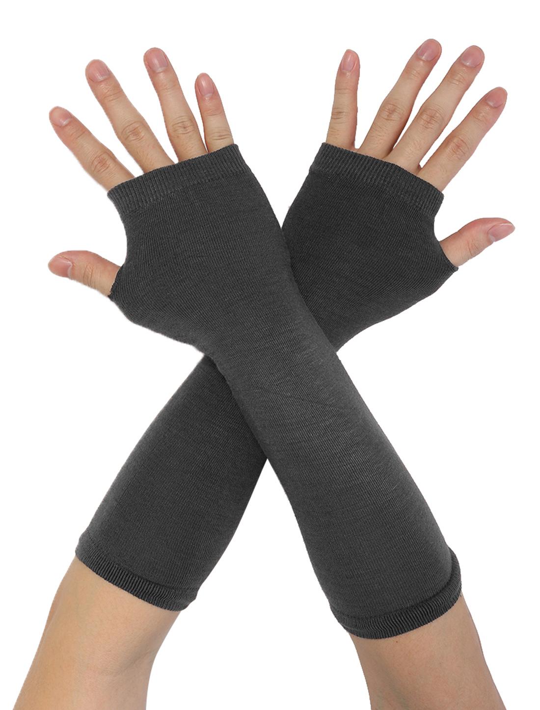 Women Elbow Length Thumbhole Arm Warmer Fingerless Gloves Pair Dark Gray
