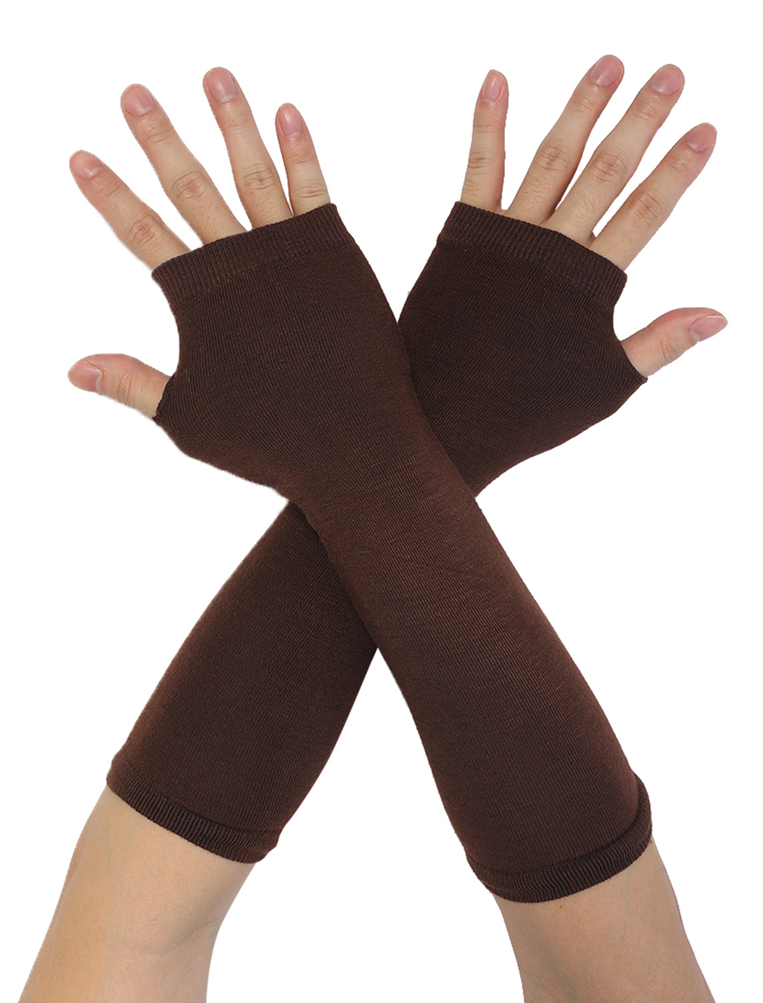 Ladies Thumb Hole Stretch Wrist Arm Warmer Fingerless Gloves Pair Brown