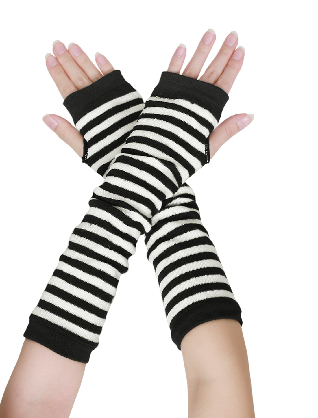 Ladies Knitted Thumb Hole Stripes Arm Warmer Fingerless Gloves Pair Black White