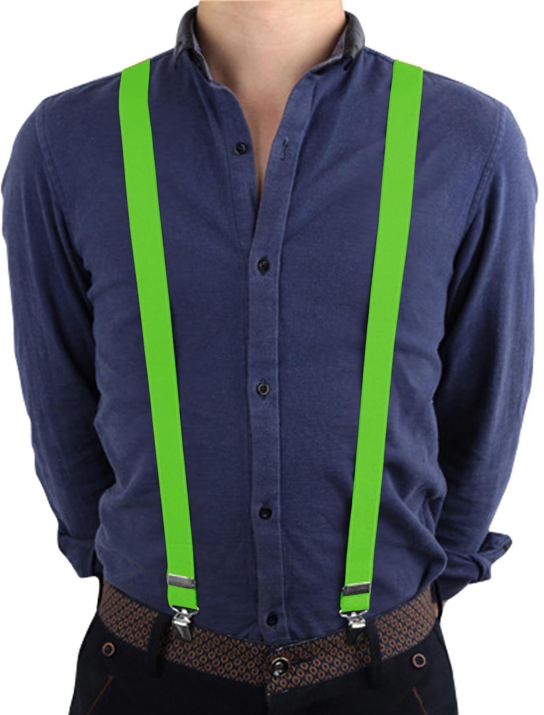 Unisex Y Shape Back Adjustable Clips Suspender Straps Green