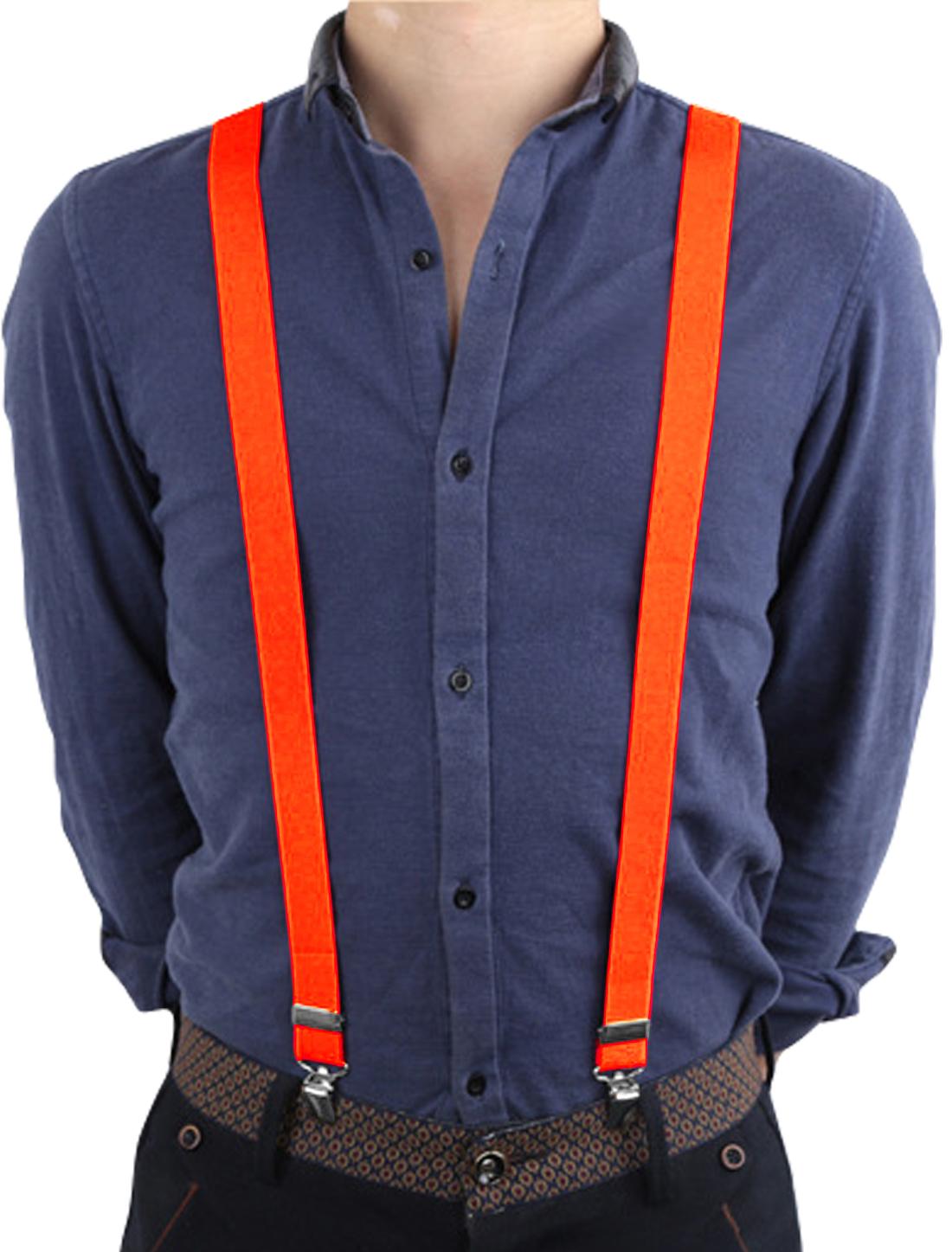 Unisex Y Shape Back Design Elastic Adjustable Suspenders Orange