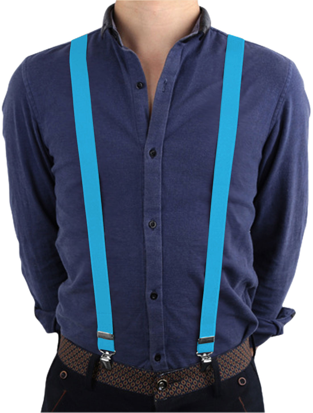 Unisex Metal Adjustor Clamps Y Shaped Elastic Casual Suspenders Blue