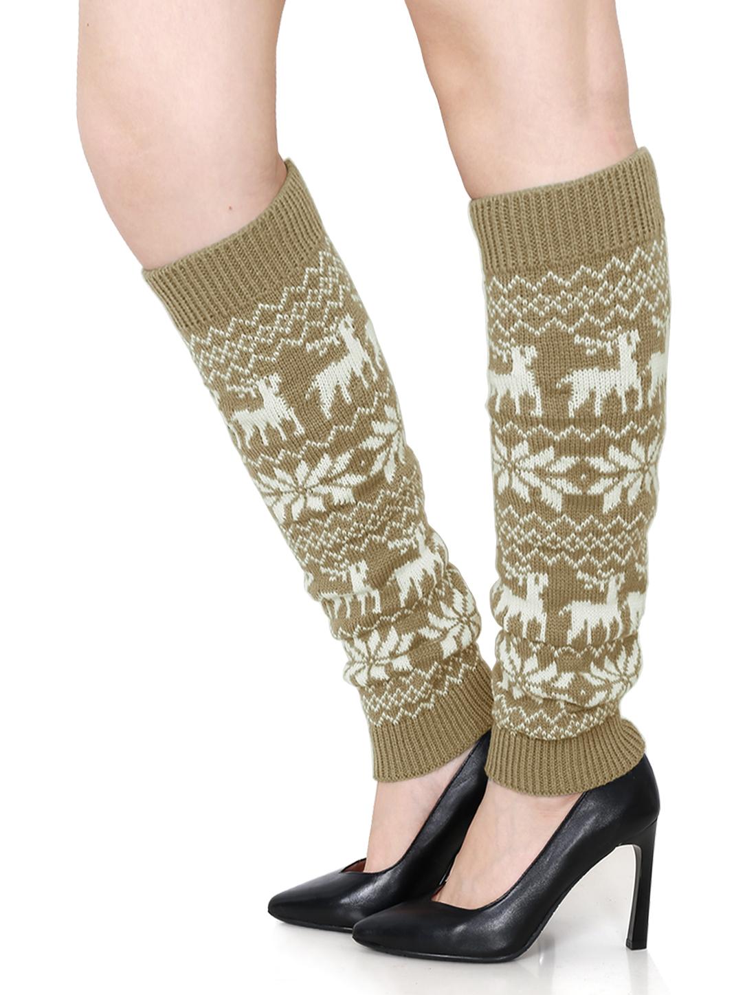 Women Elastic Cuffs Snowflake Deers Pattern Knit Leg Warmers Pair Beige White