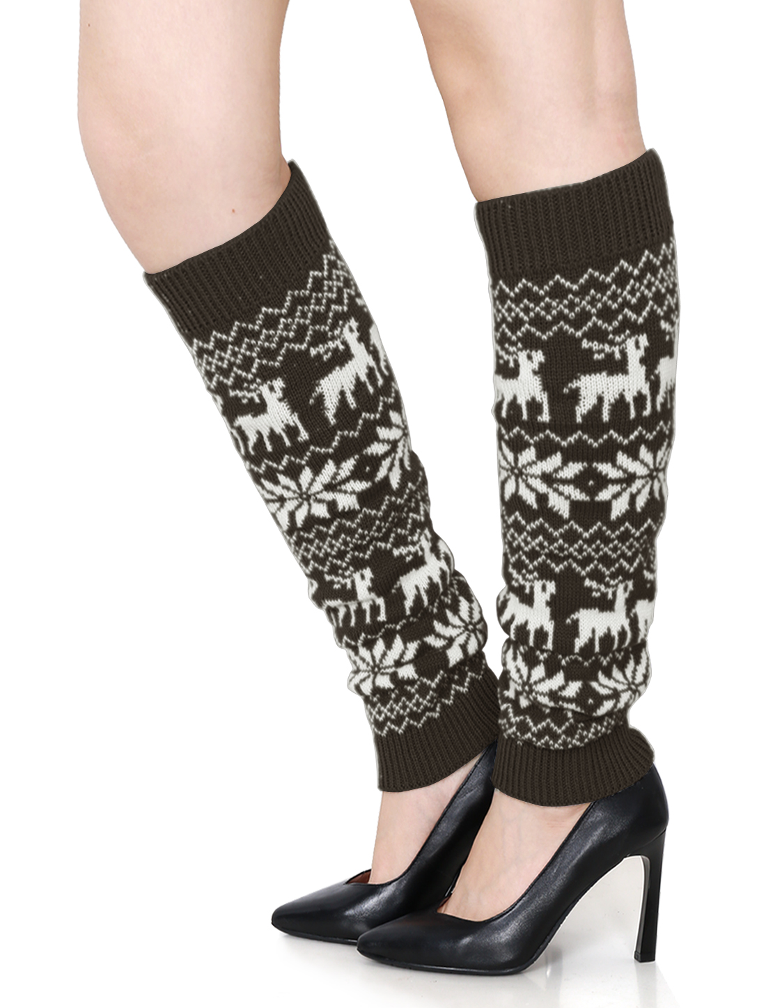 Women Snowflake Deers Pattern Knitted Boot Cuff Leg Warmers Pair Brown White