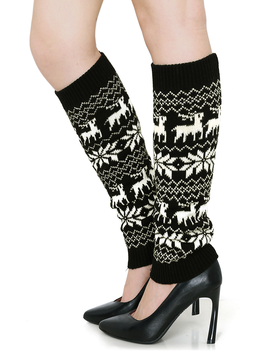 Women Snowflake Deers Pattern Elastic Knit Toeless Long Socks Pair Black White