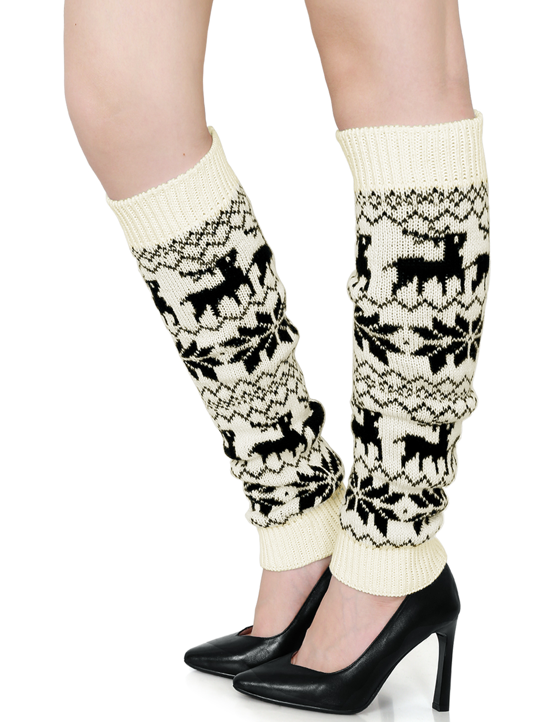 Women Knee High Snowflake Deers Pattern Stretch Leg Warmers Pair White Black