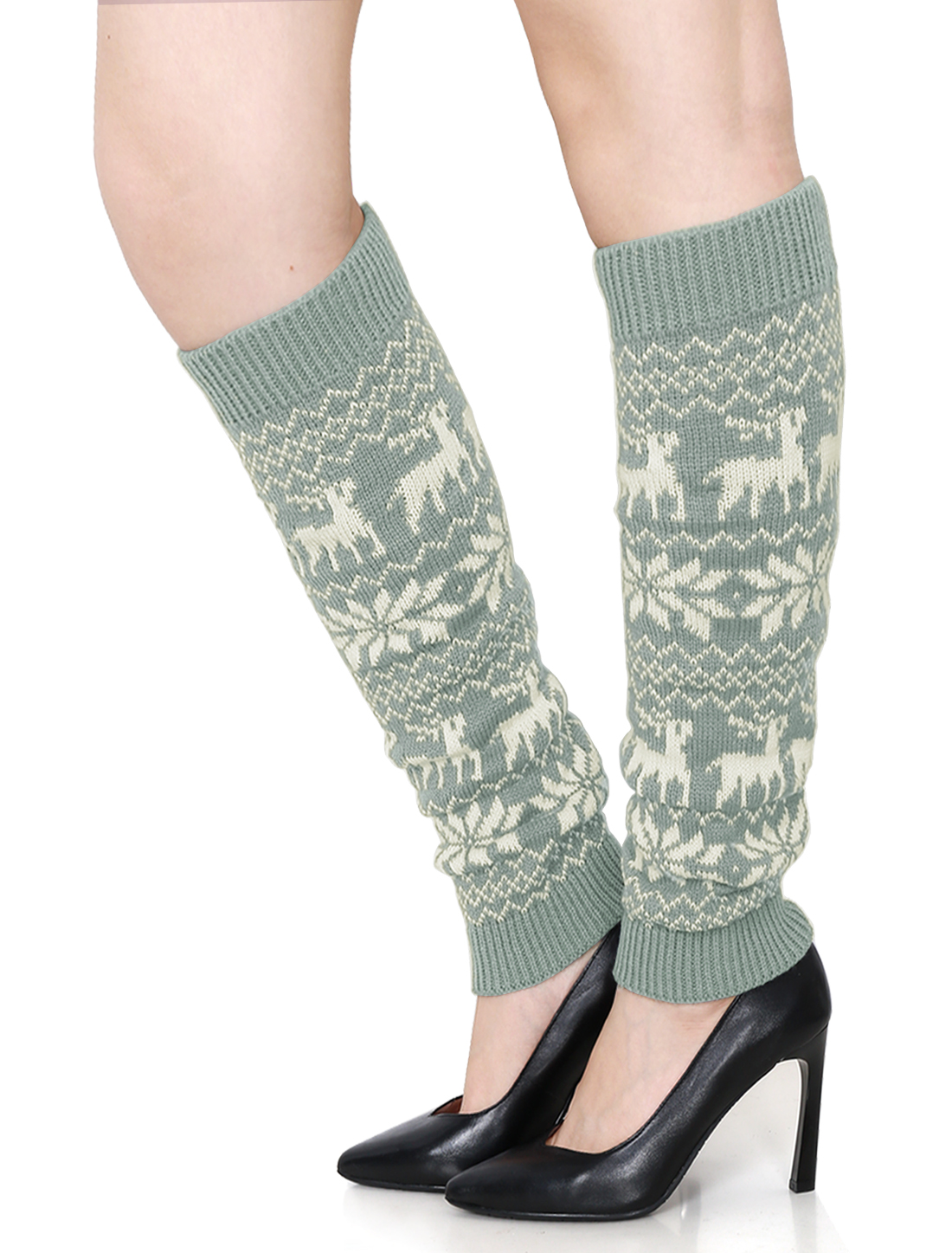 Ladies Snowflake Deers Pattern Ribbed Cuffs Leg Warmers Pair Gray White