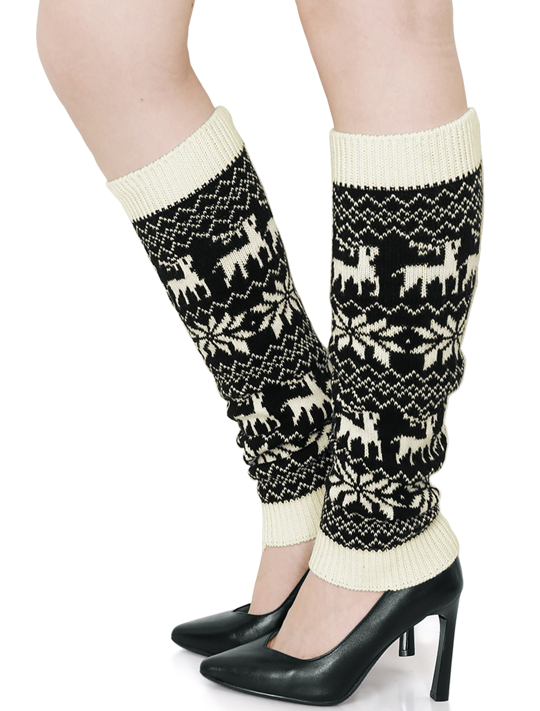 Ladies Ribbing Snowflake Deers Pattern Stretchy Leg Warmers Pair White Black