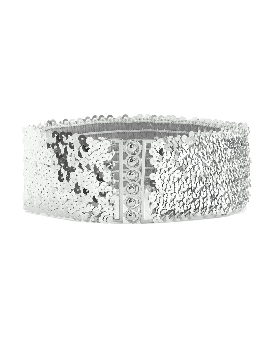 Lady Sequins Decor Metal Interlooking Buckles Elastic Waist Belt Silver