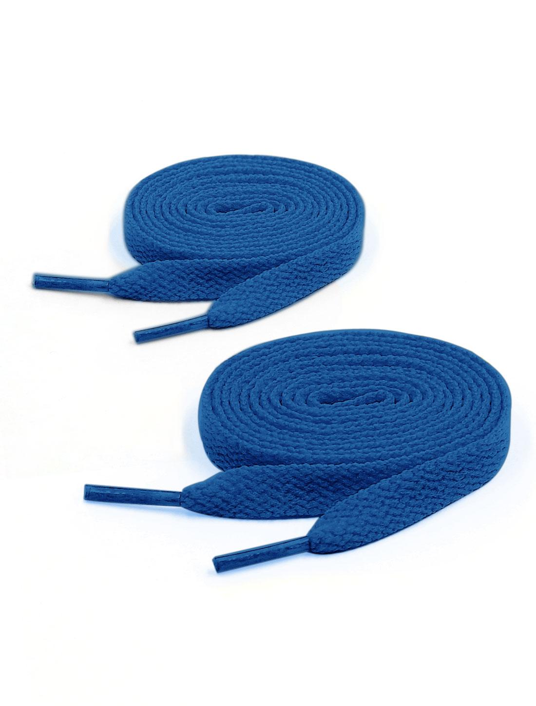 Unisex 2 Pairs Plastic Tip 123cm Length Cotton Blends Sport Shoes Laces Blue