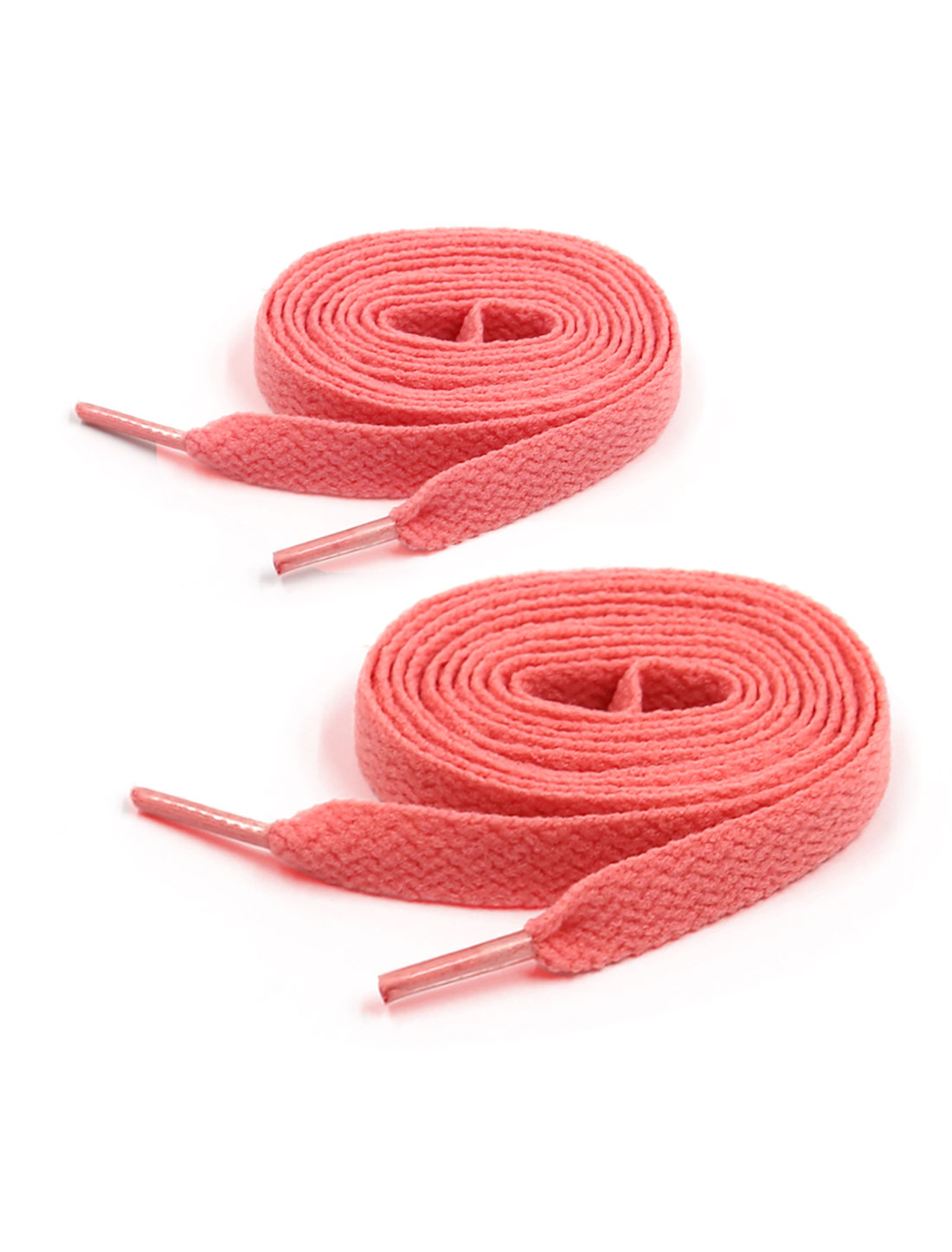 Unisex Plastic Tip 123cm Length 2 Pairs Flat Athleisure Shoes Strings Salmon