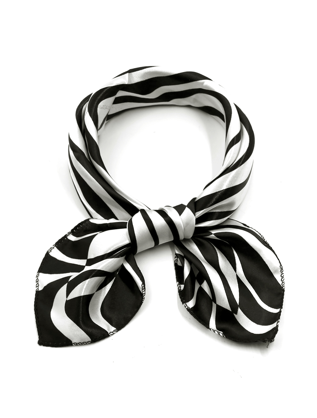 Women Square Shaped Zebra Prints Casual Scarf Black White