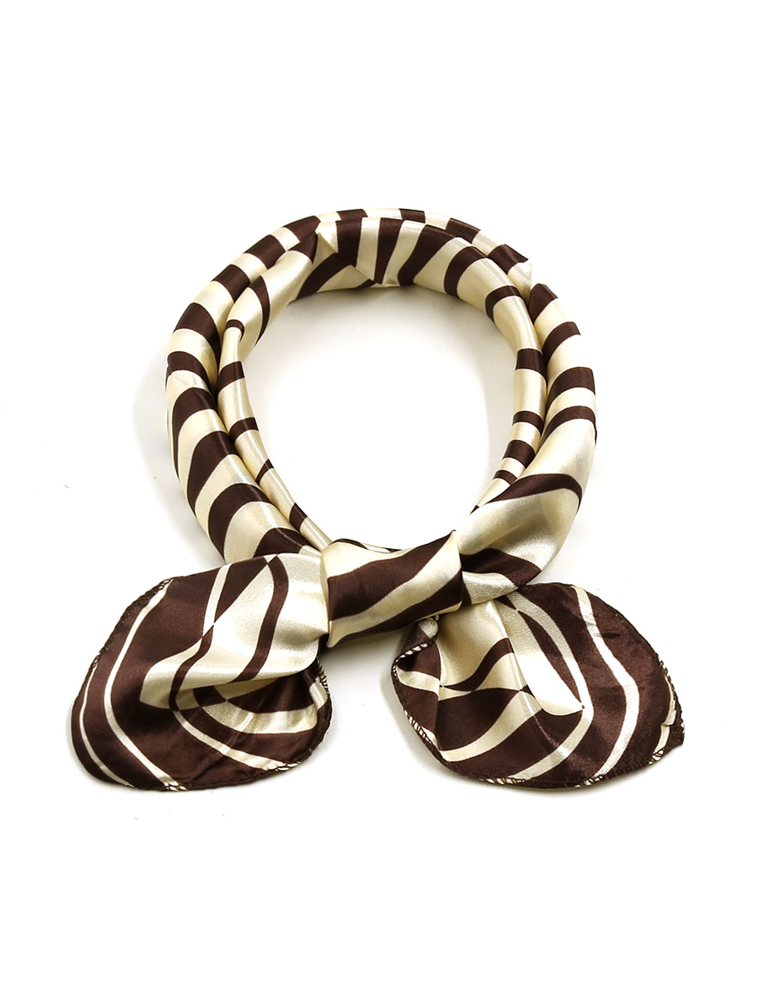 Ladies Square Shaped Zebra Prints Leisure Scarf Brown Beige