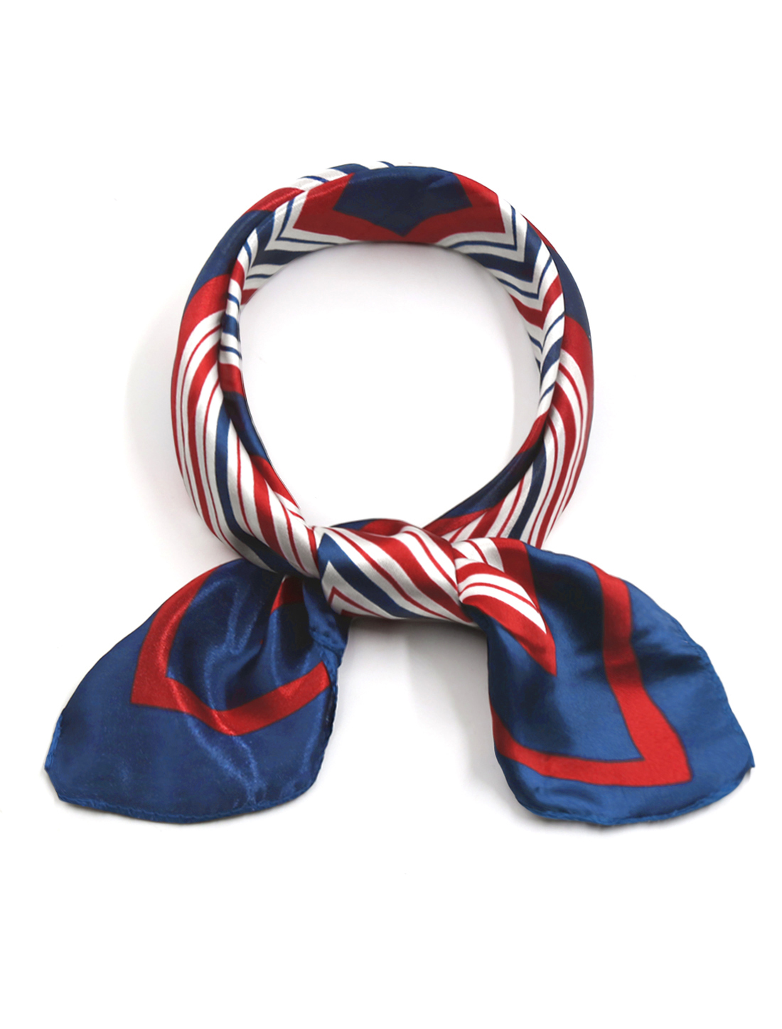 Ladies Geometric Prints Square Shaped Neck Scarf Red Blue
