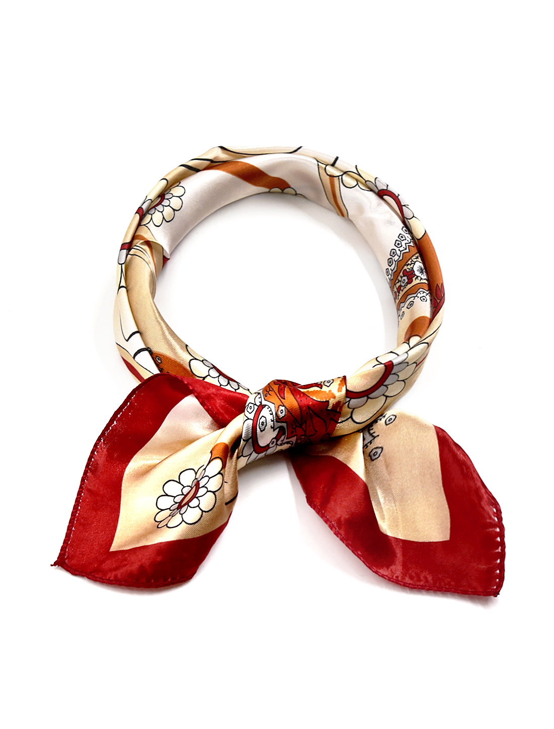 Women Square Shaped Paisleys Floral Prints Kerchief Red Beige