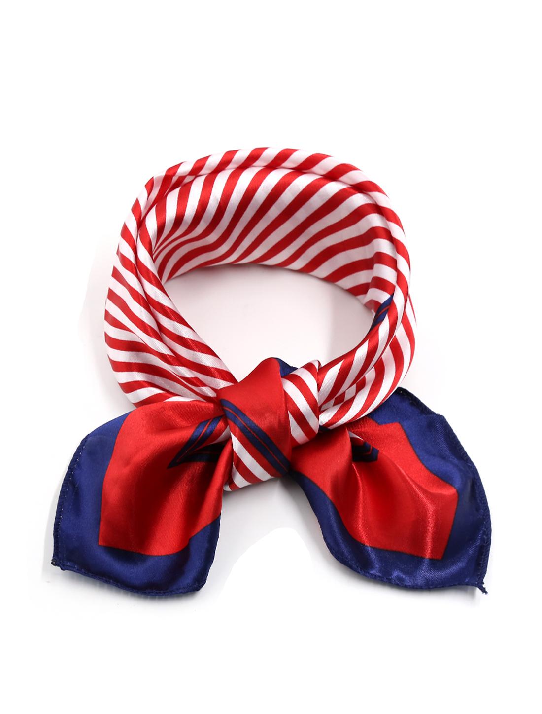 Women Contrast Color Stripes Casual Squre Shape Scarves Red Blue