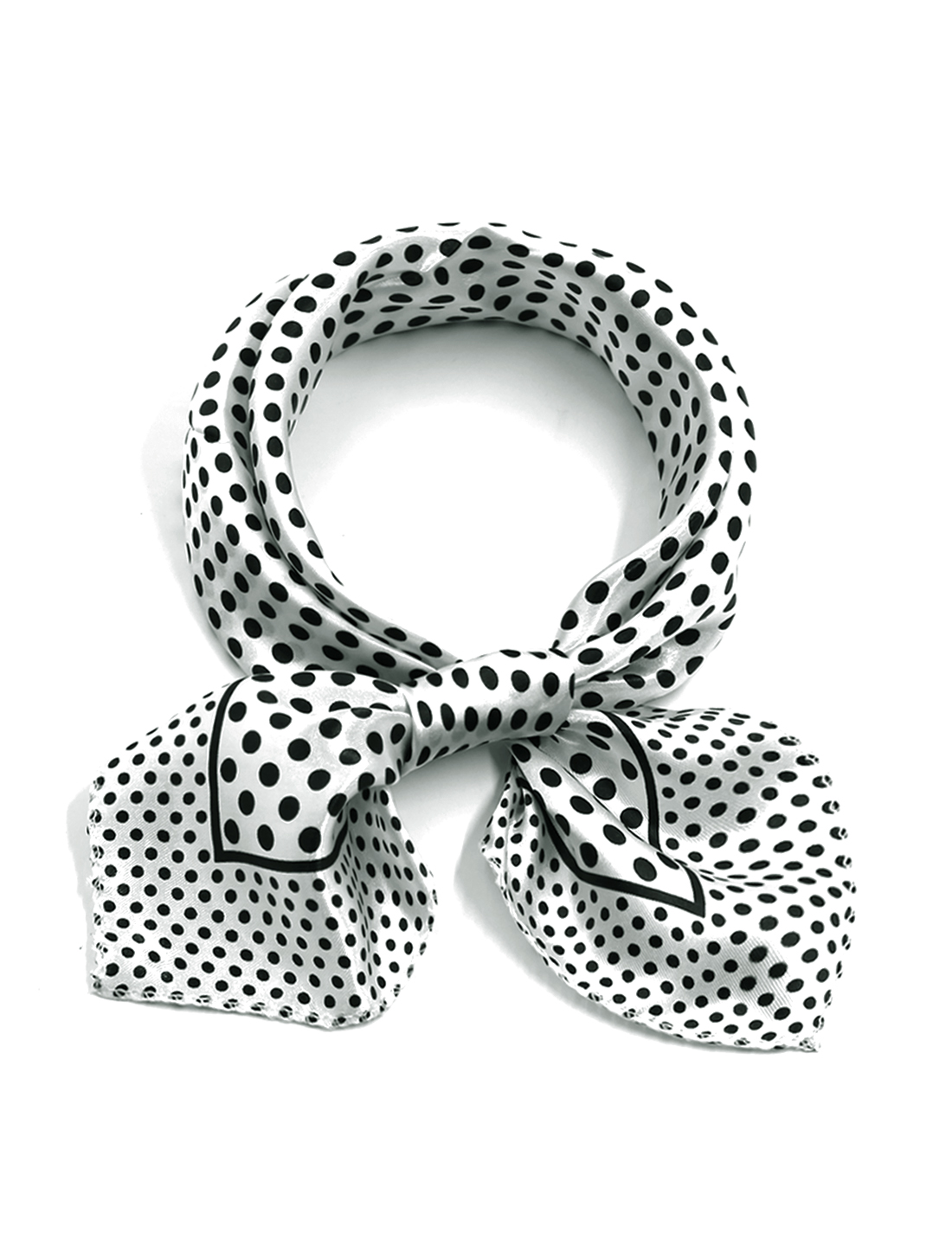Women Square Shaped Dots Pattern Relaxed Neck Scarf White
