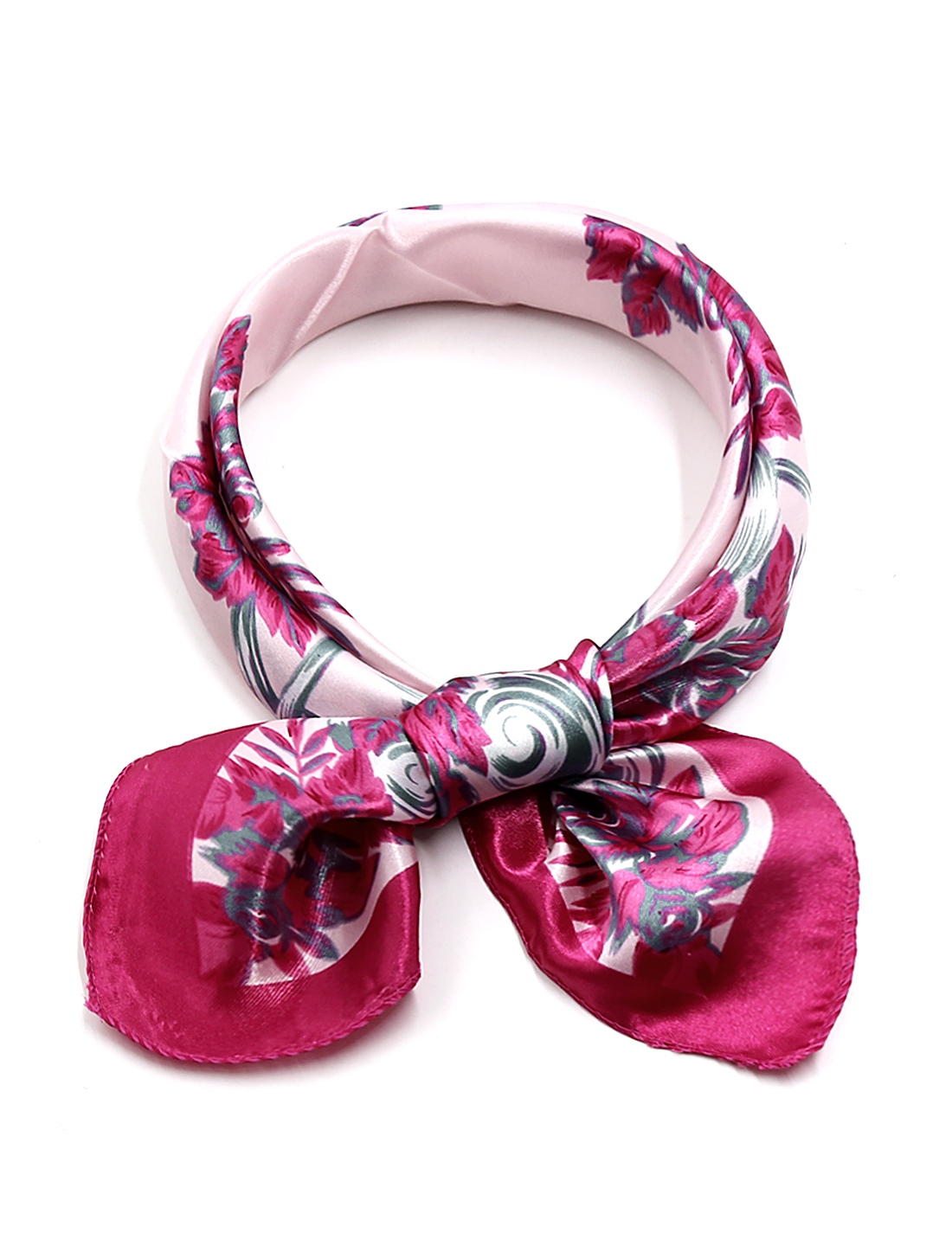 Women Square Shape Floral Prints Casual Neckerchief Pink