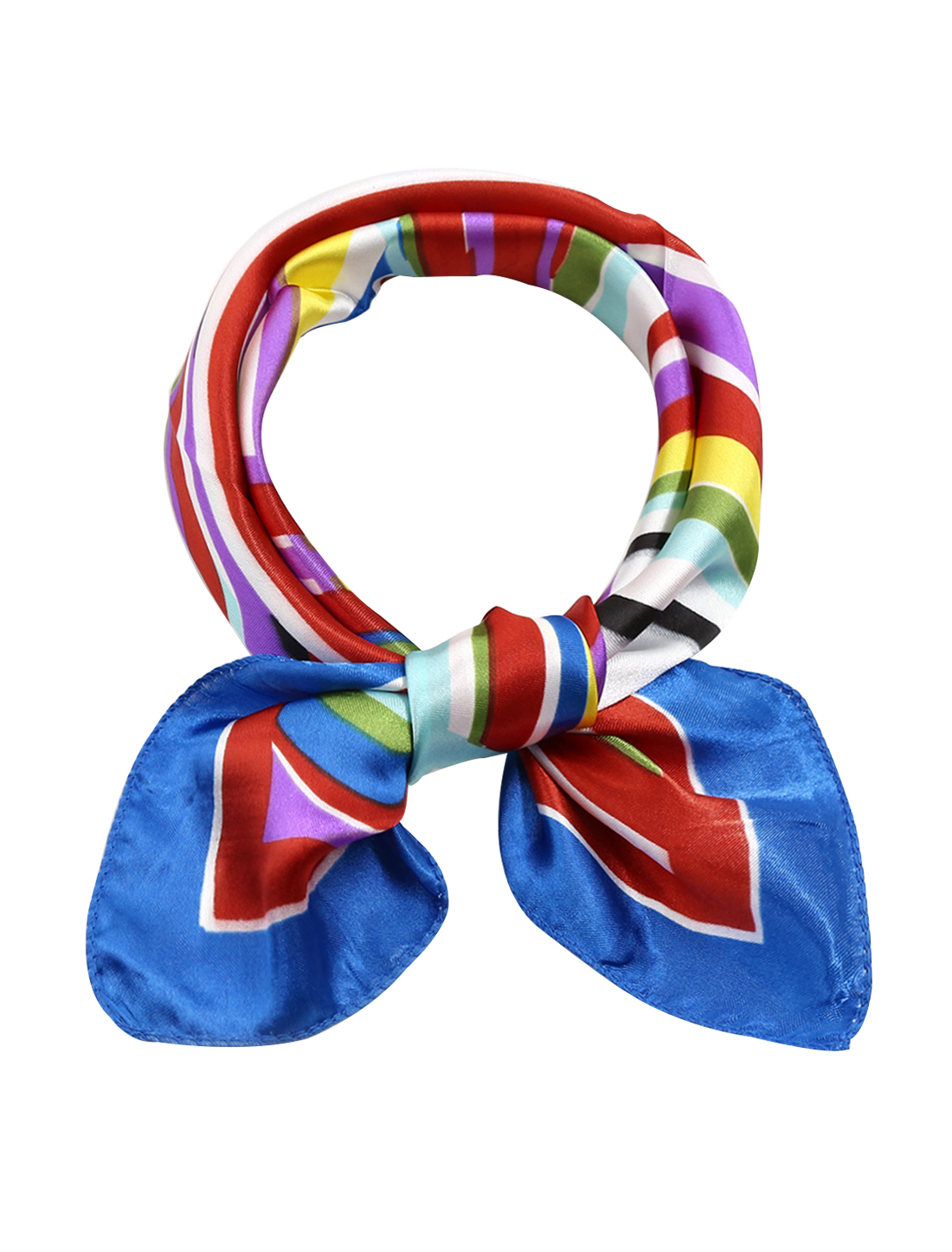Women Square Shaped Novelty Pattern Neckerchief Multicolor