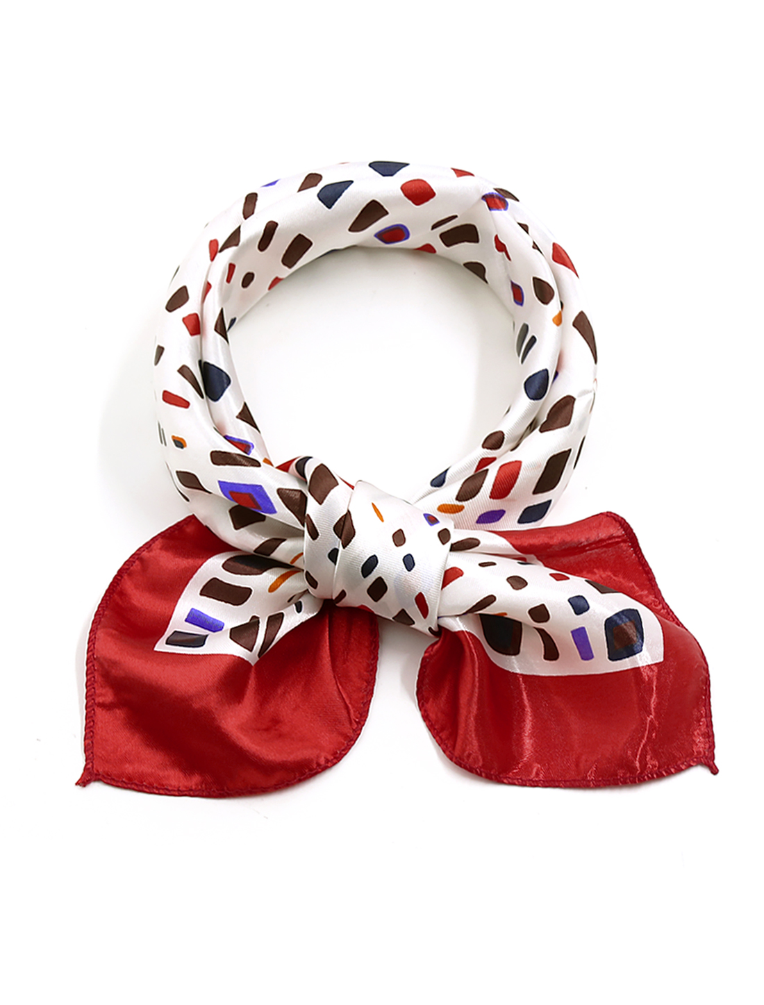 Women Square Shaped Novelty Prints Neck Scarf Multicolor
