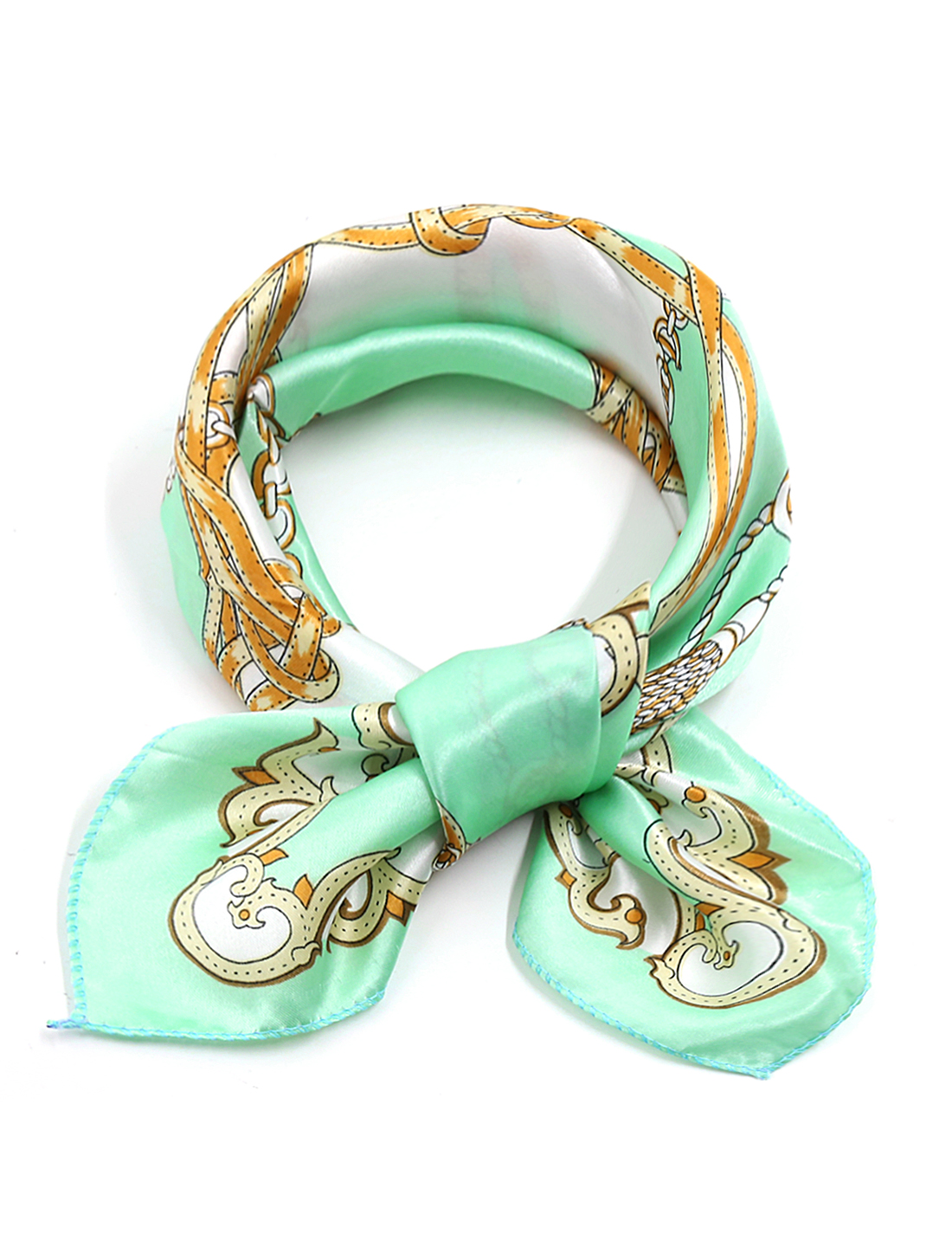 Women Square Shaped Chain Novelty Prints Neck Wrap Scarf Green White