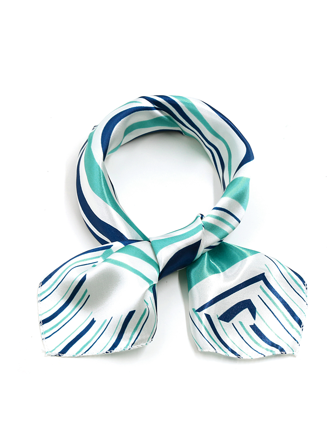 Ladies Squared Shape Novelty Pattern Leisure Kerchief Blue White