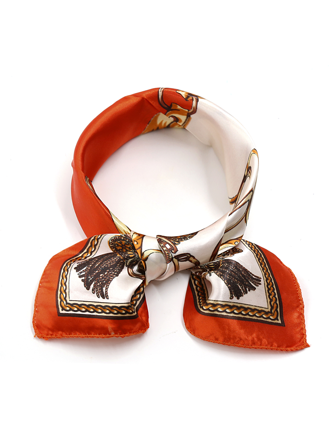 Women Square Shaped Novelty Prints Neck Kerchief Red Ivory