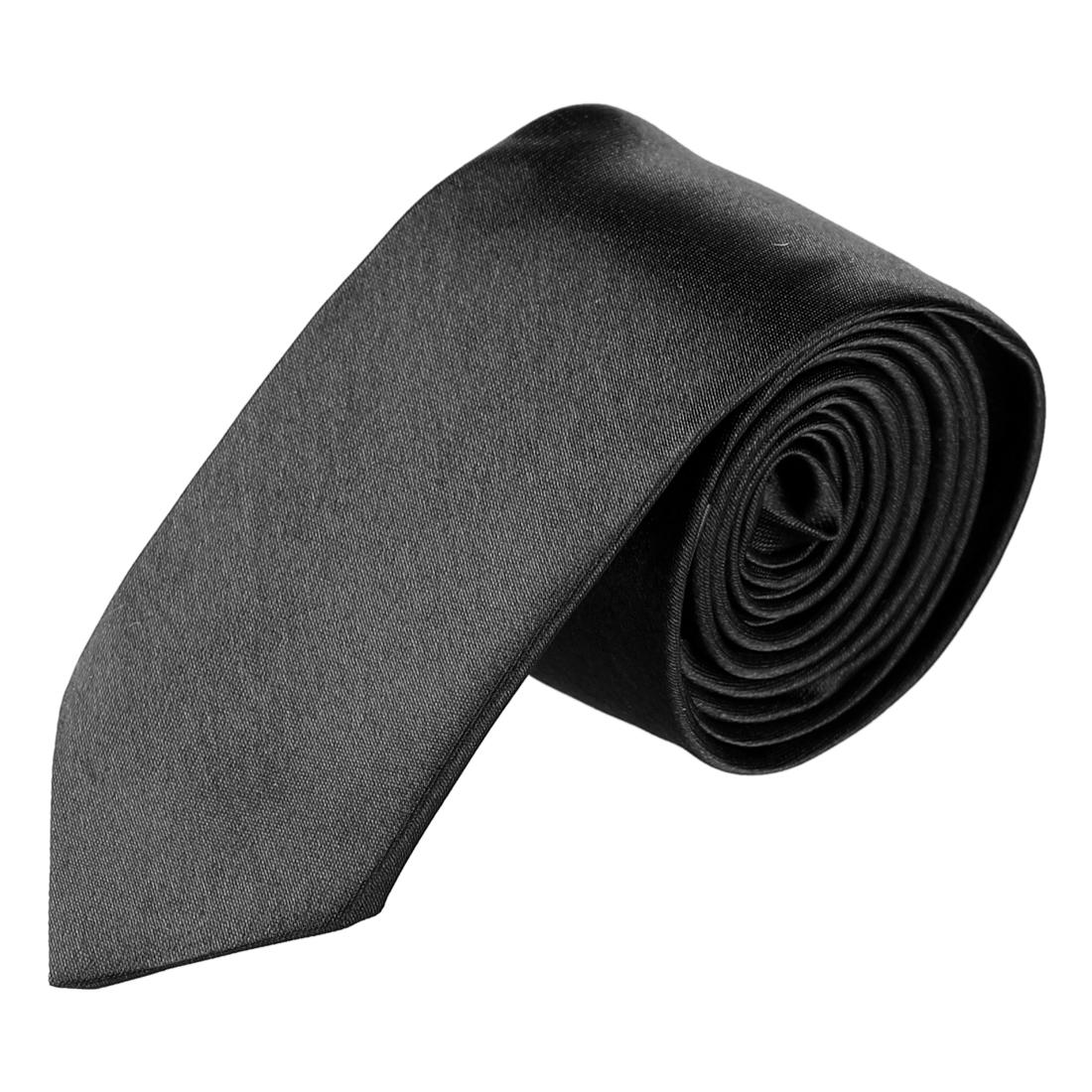 Men Bussiness Party Self Tie Neckwear Clothes Decor Slim Necktie Black