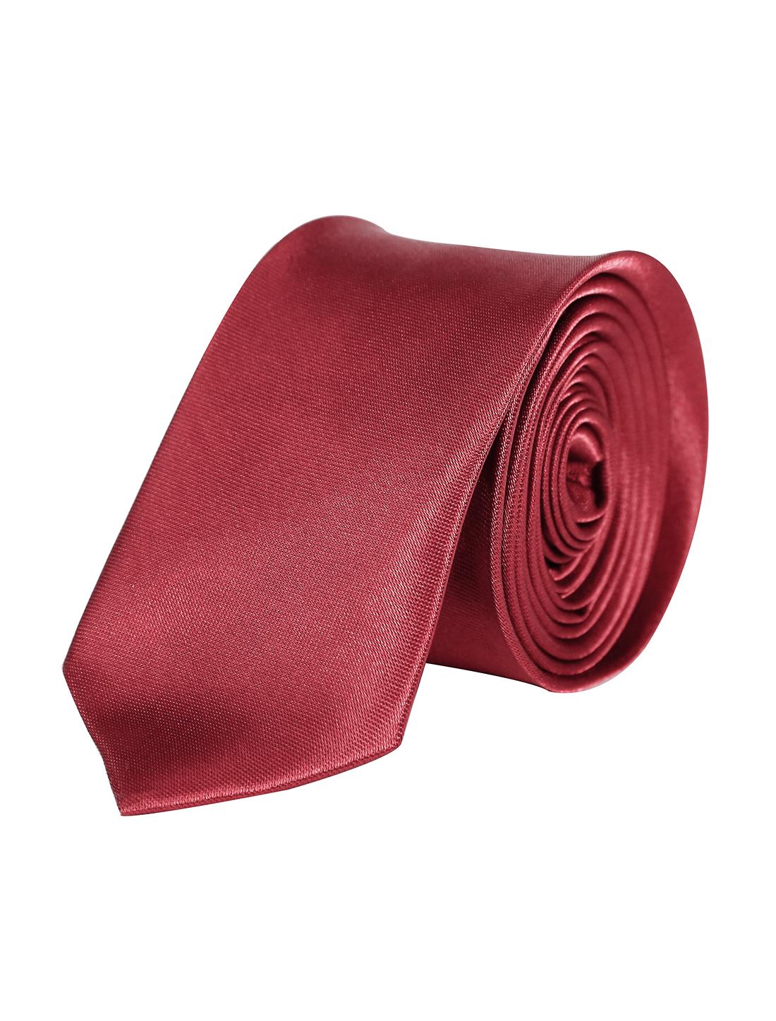 Men Bussiness Party Adjustable Neckwear Clothes Decor Thin Necktie Burgundy