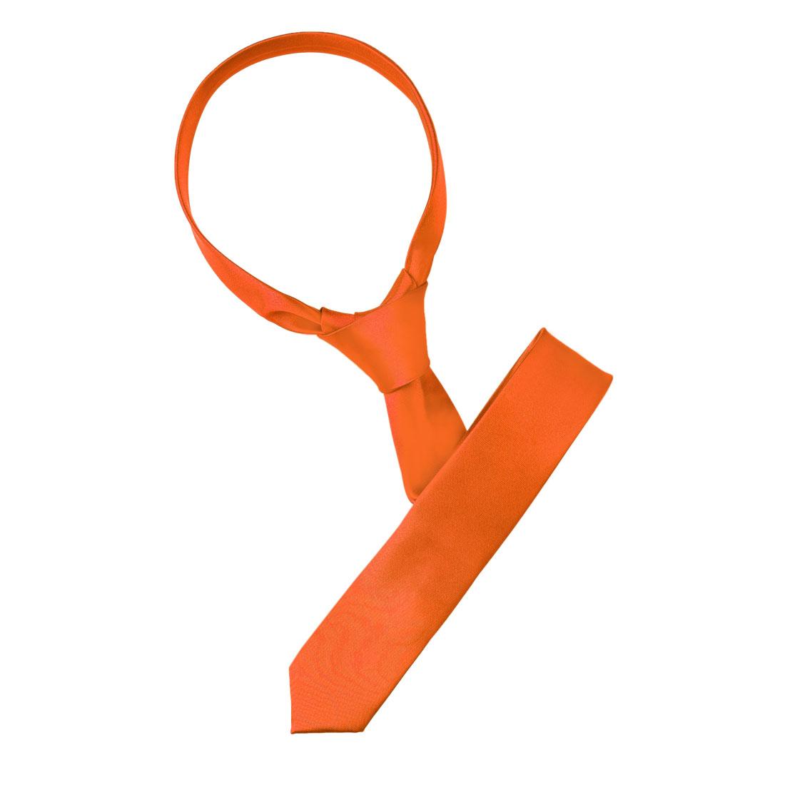 Men Bussiness Party Adjustable Neckwear Slim Decorative Necktie Orange