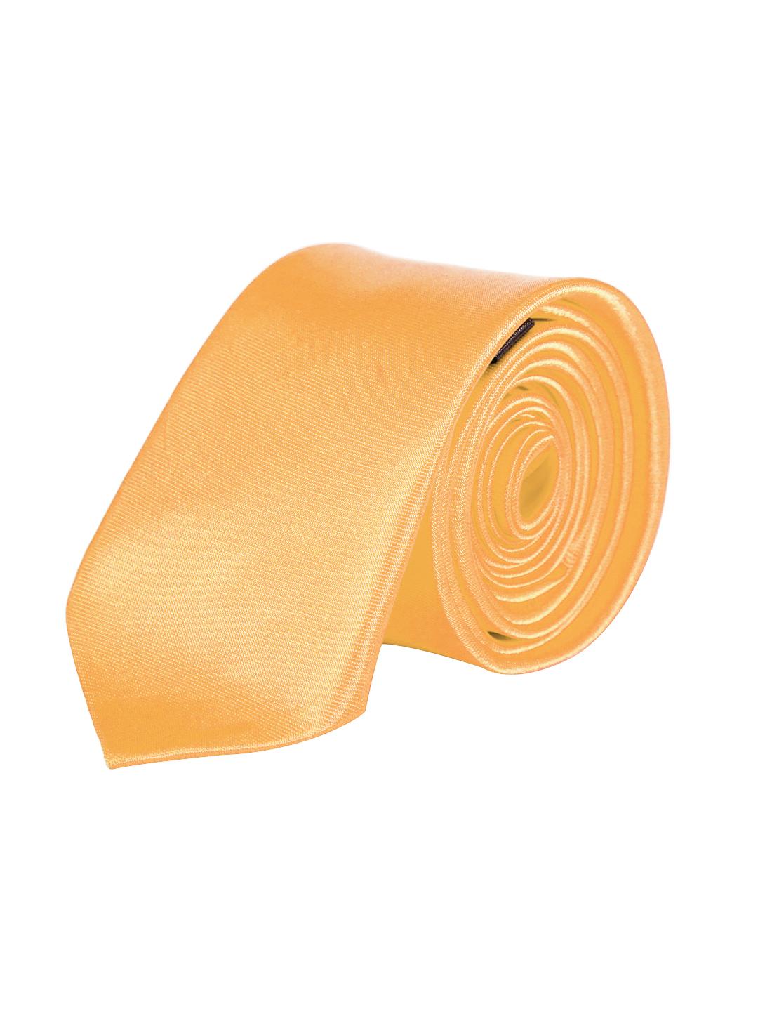 Men Adjustable Bussiness Party Clothes Decor Clip On Slim Necktie Gold