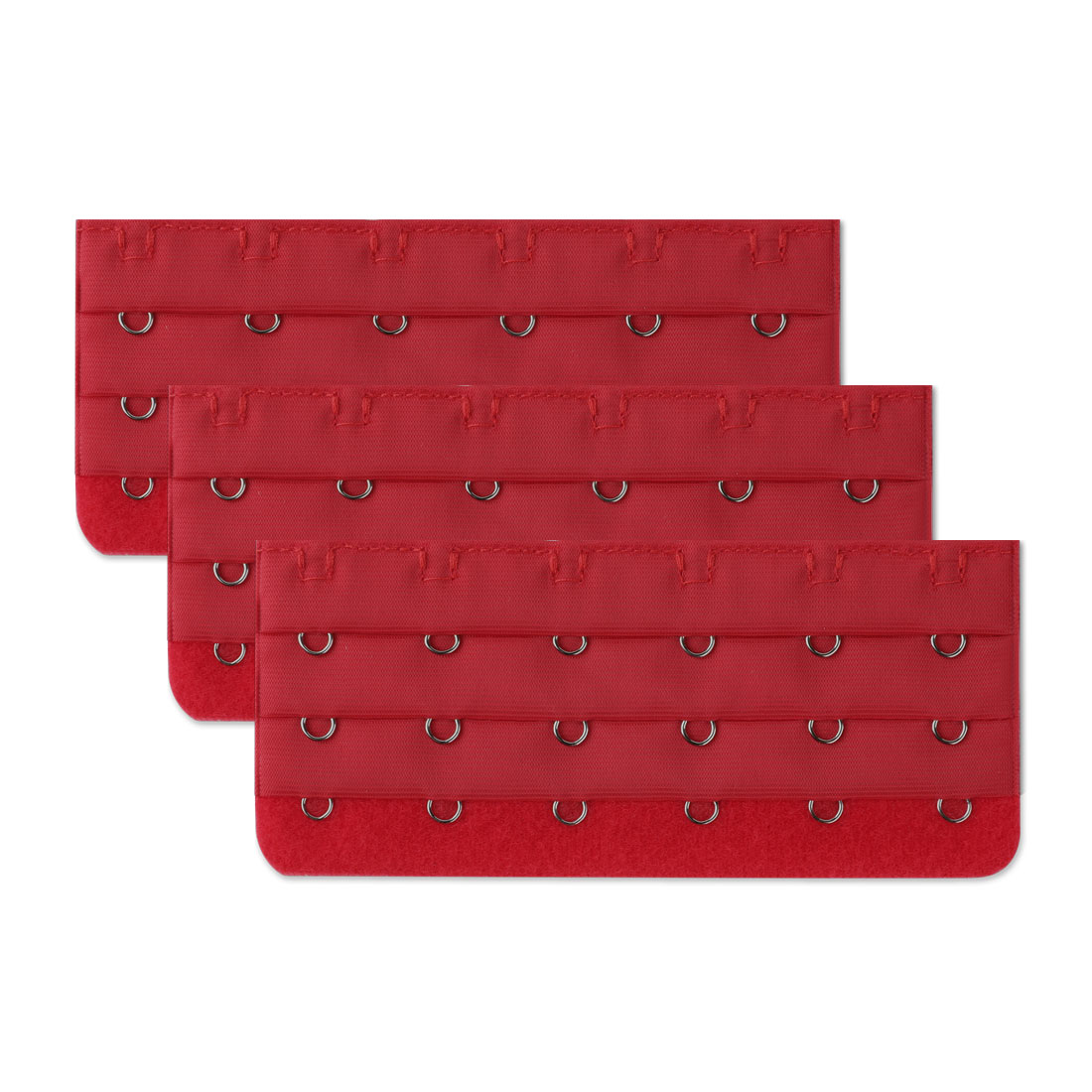Ladies 3 Rows 6 Hooks Adjustable Bra Back Extension Strap Expander 3 Pcs Red