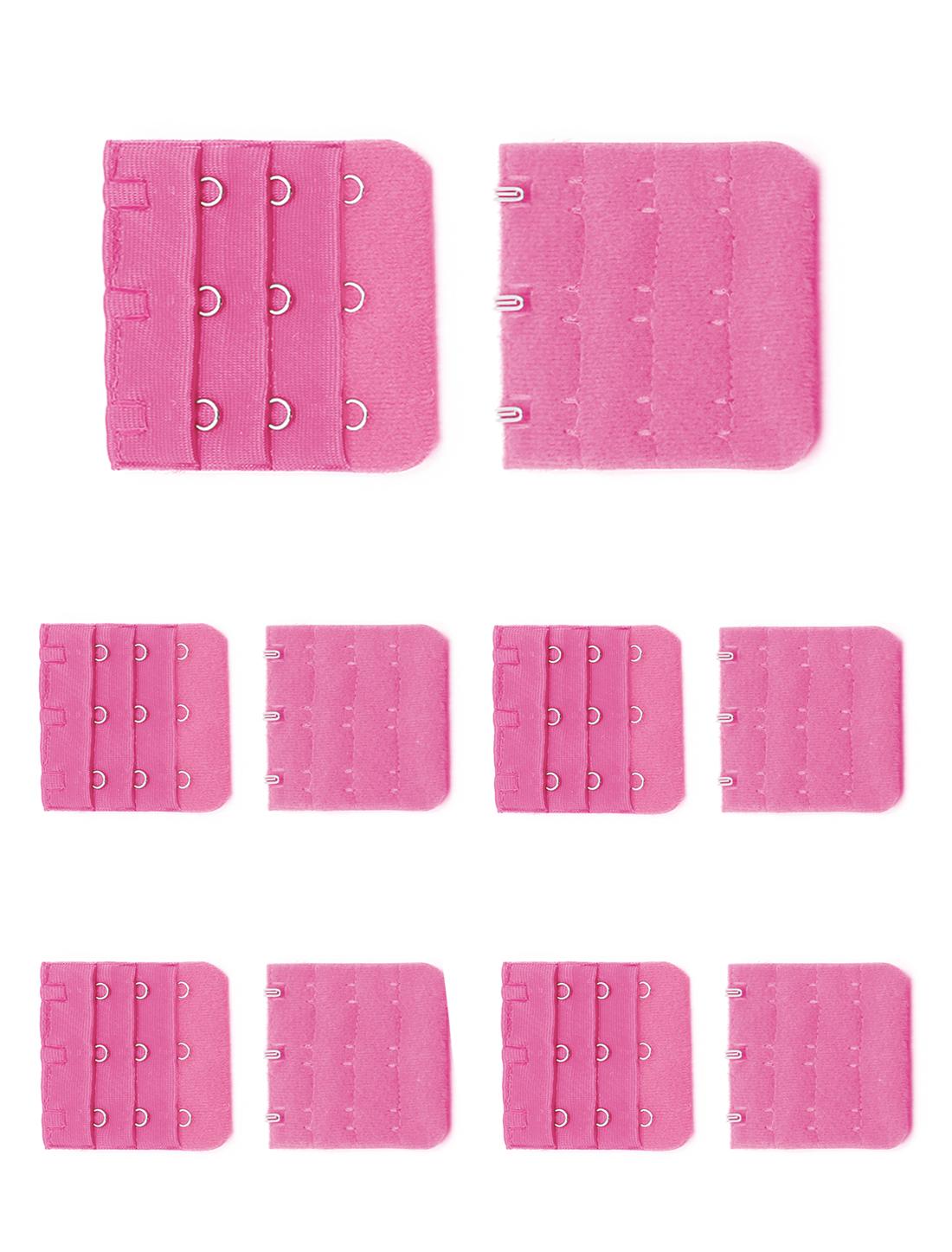 Women 3 Rows 3 Hooks Adjustable Bra Band Extension Strap Extenders 10 Pcs Pink