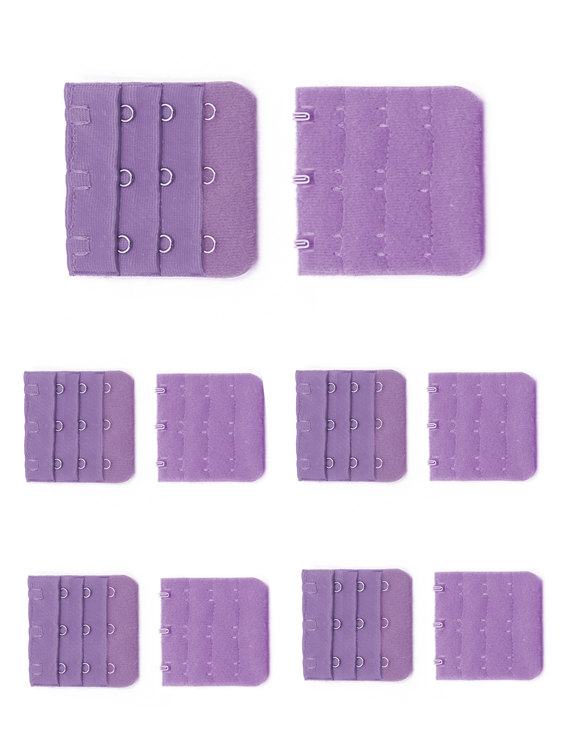 Women 3 Rows 3 Hooks Bra Straps Underwear Brassiere Back Extension 10 Pcs Purple