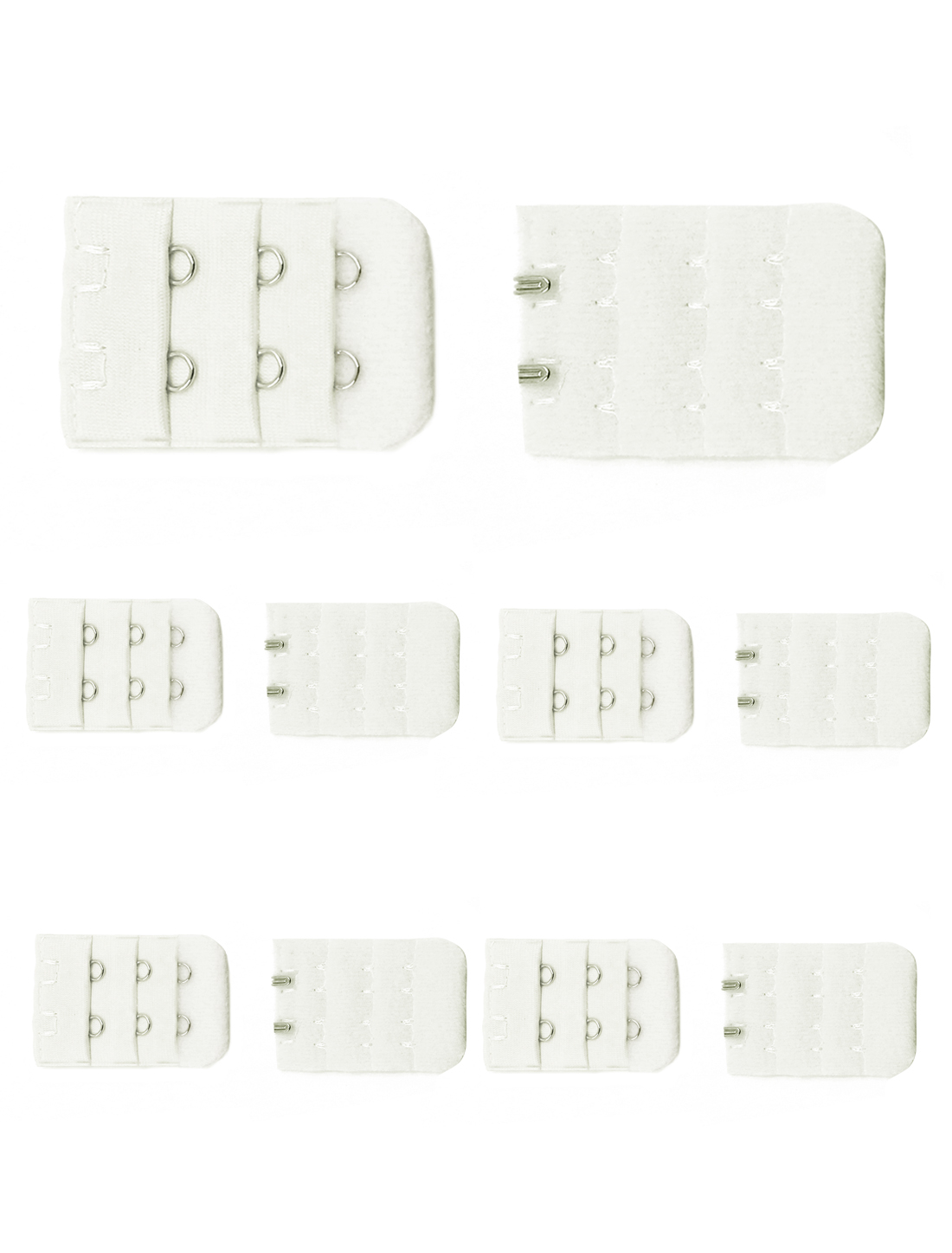 Women 3 Rows 2 Hooks Underwear Bra Extender Strap Adapter 10 Pcs White