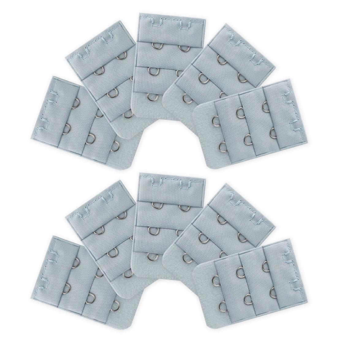 Ladies 3 Rows 2 Hooks Underwear Eye Tape Bra Strap Extender 10 Pcs Gray