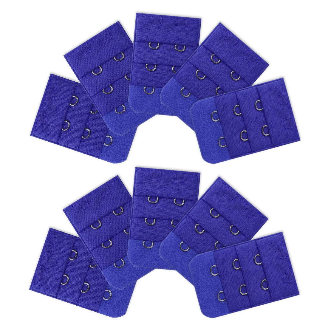 Women 3 Rows 2 Hooks Underwear Replacement Bra Band Extender 10 Pcs Blue
