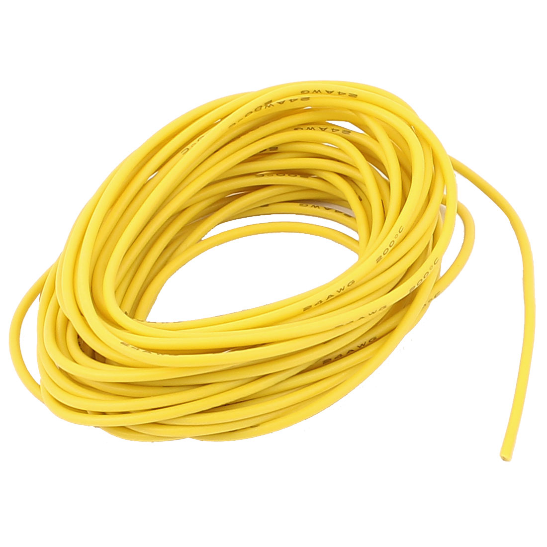 5M 24AWG Electric Copper Core Flexible Silicone Wire Cable Yellow