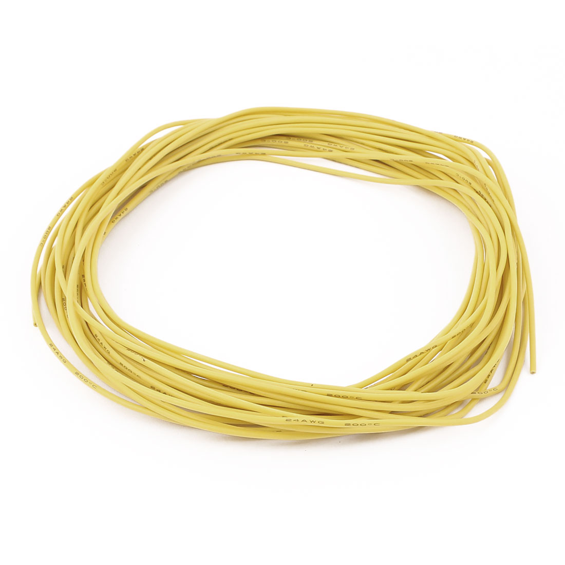 10M 24AWG Electric Copper Core Flexible Silicone Wire Cable Yellow