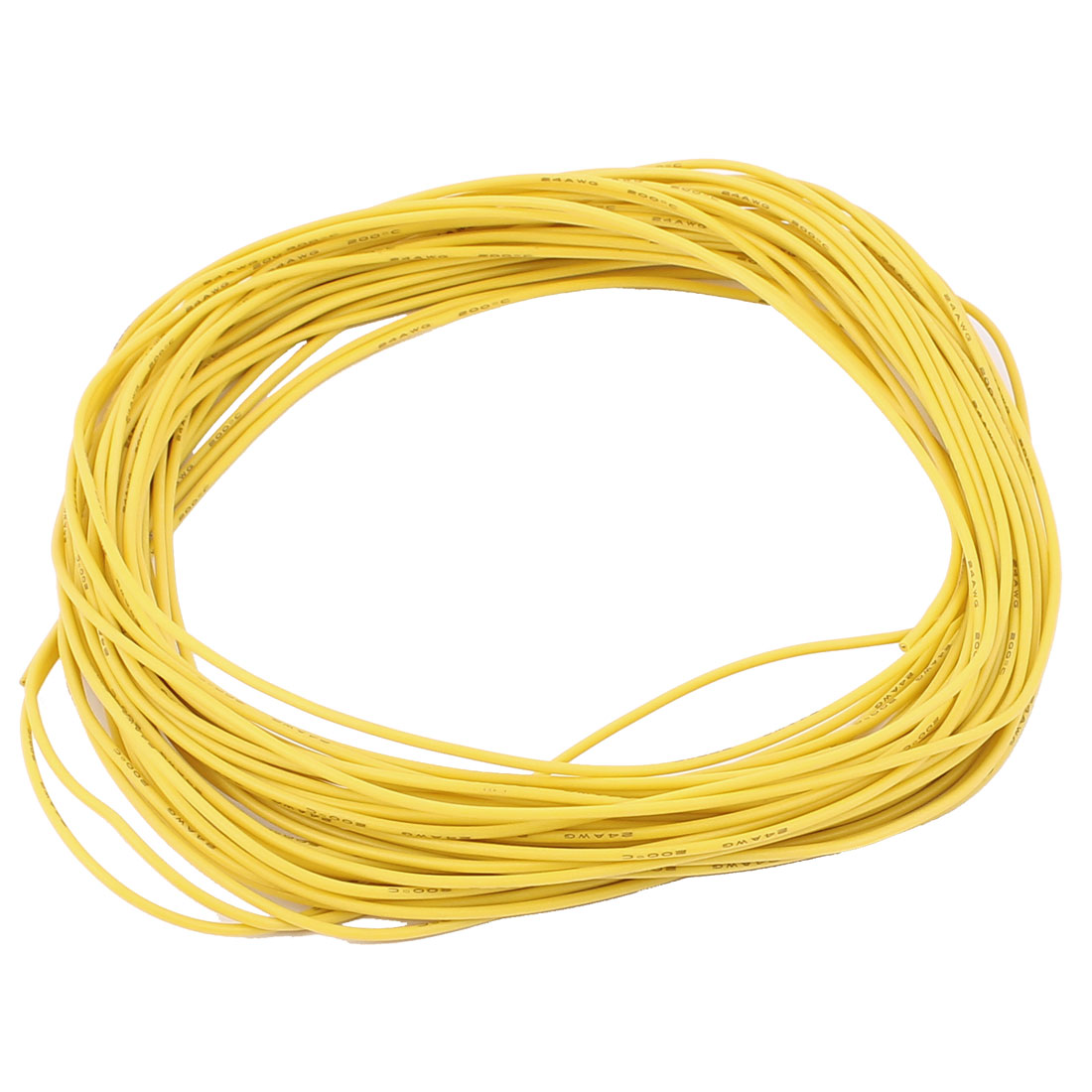 15M 24AWG Electric Copper Core Flexible Silicone Wire Cable Yellow