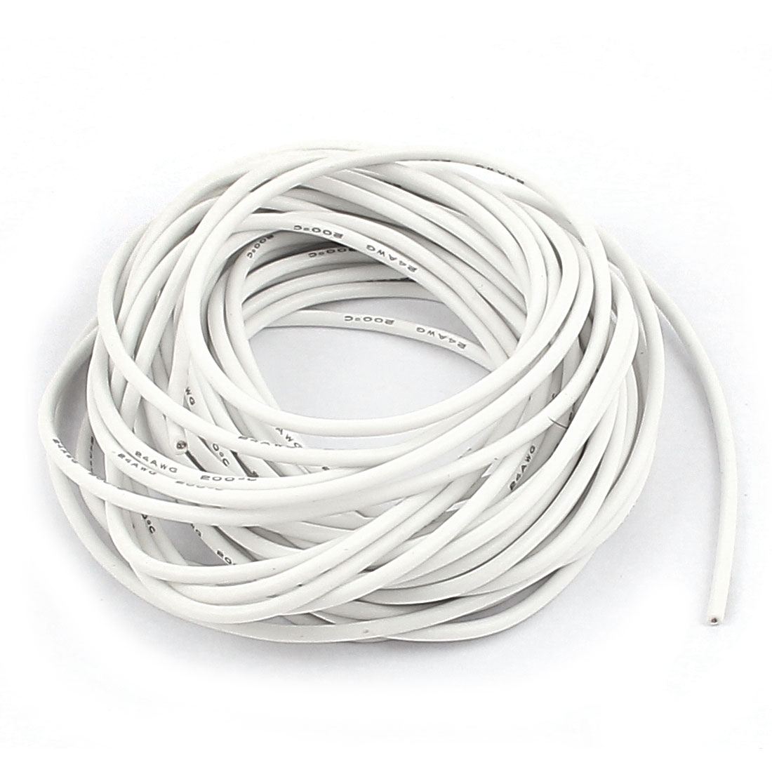 5M 24AWG Electric Copper Core Flexible Silicone Wire Cable White