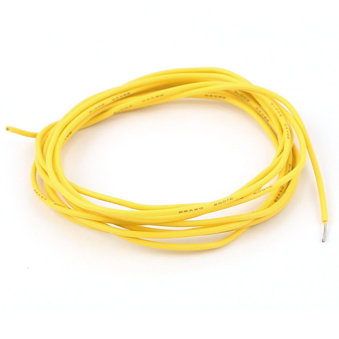 2M 22AWG Electric Copper Core Flexible Silicone Wire Cable Yellow