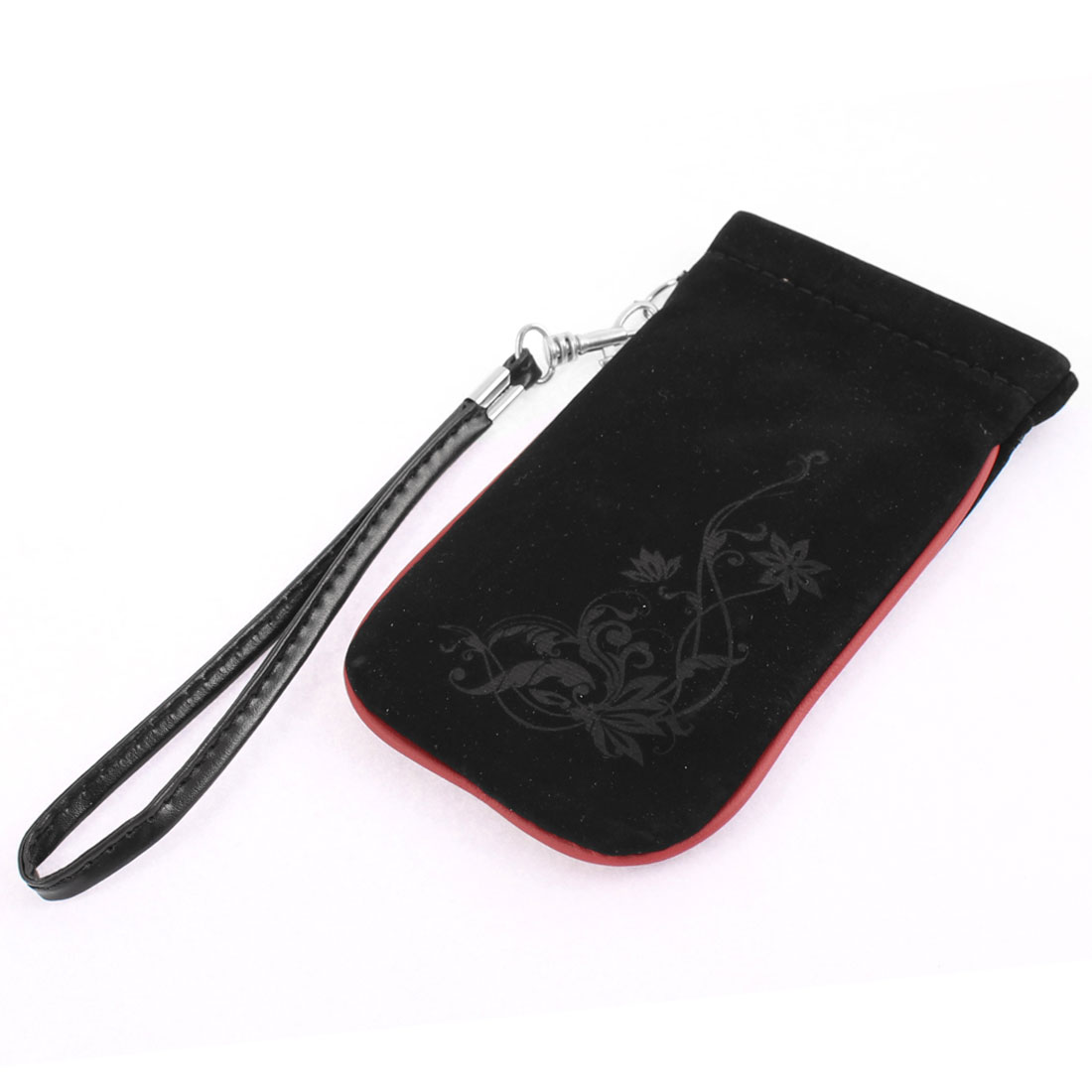 Plant Pattern Steel Bars Self Closure Phone Card Case Handbag Purse Bag Black