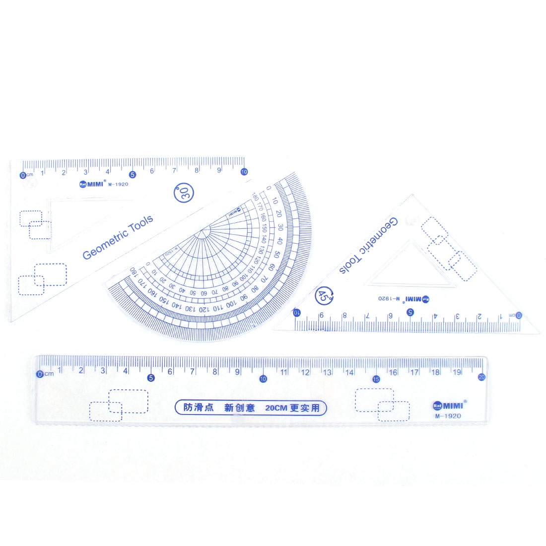 4 in 1 Students Plastic Metric Straight Ruler Protractor Combination Drawing Measuring Tool Set Clear