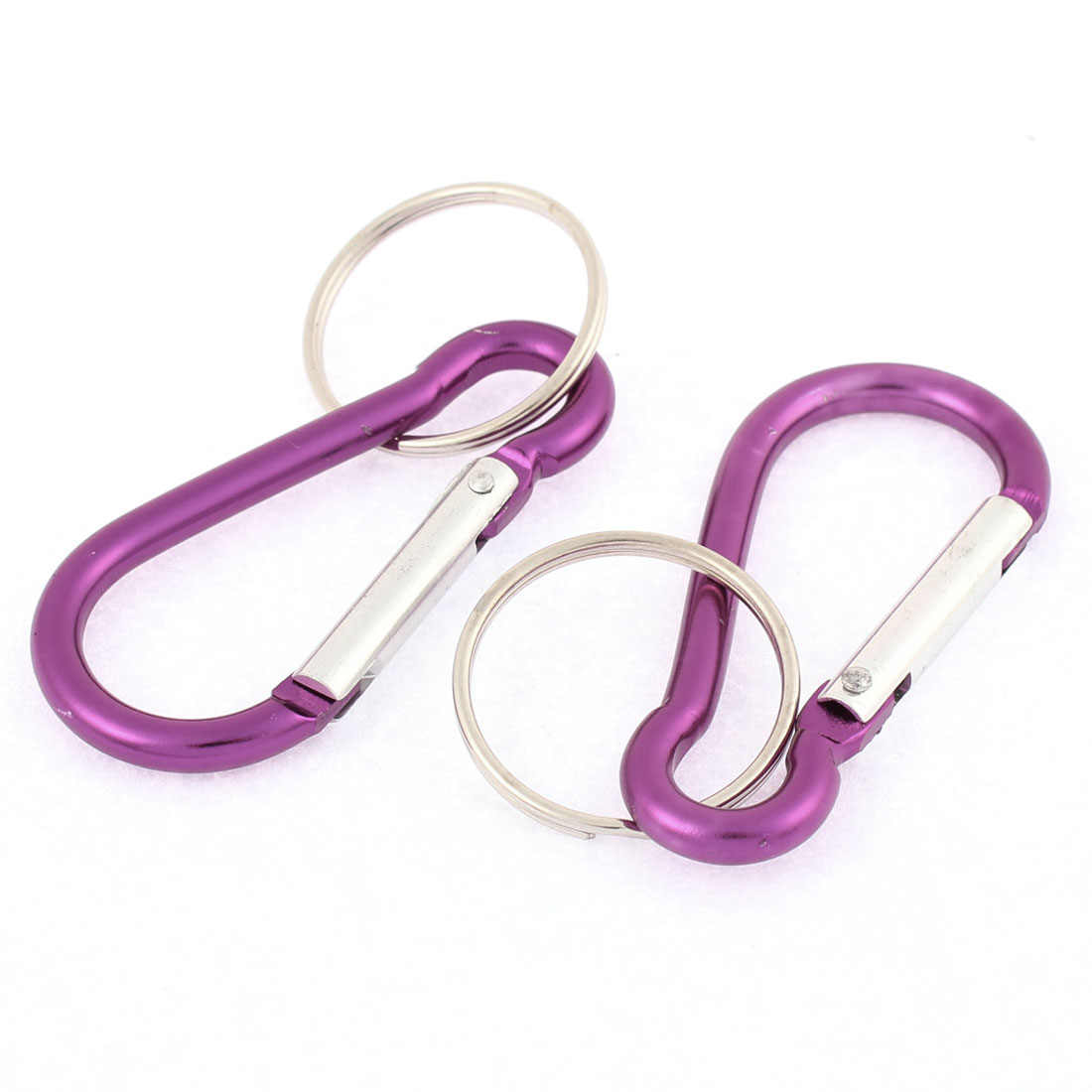 2 Pcs Aluminum Alloy Spring Loaded Gate Locking Carabiner Hook Keyring Purple