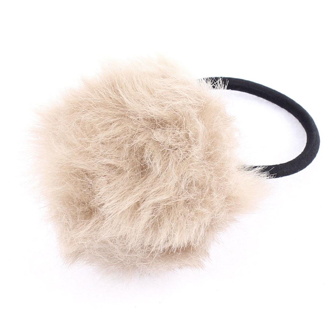Gray Fluffy Faux Fur Decor Stretchy Band Hair Tie Ponytail Hairband for Lady