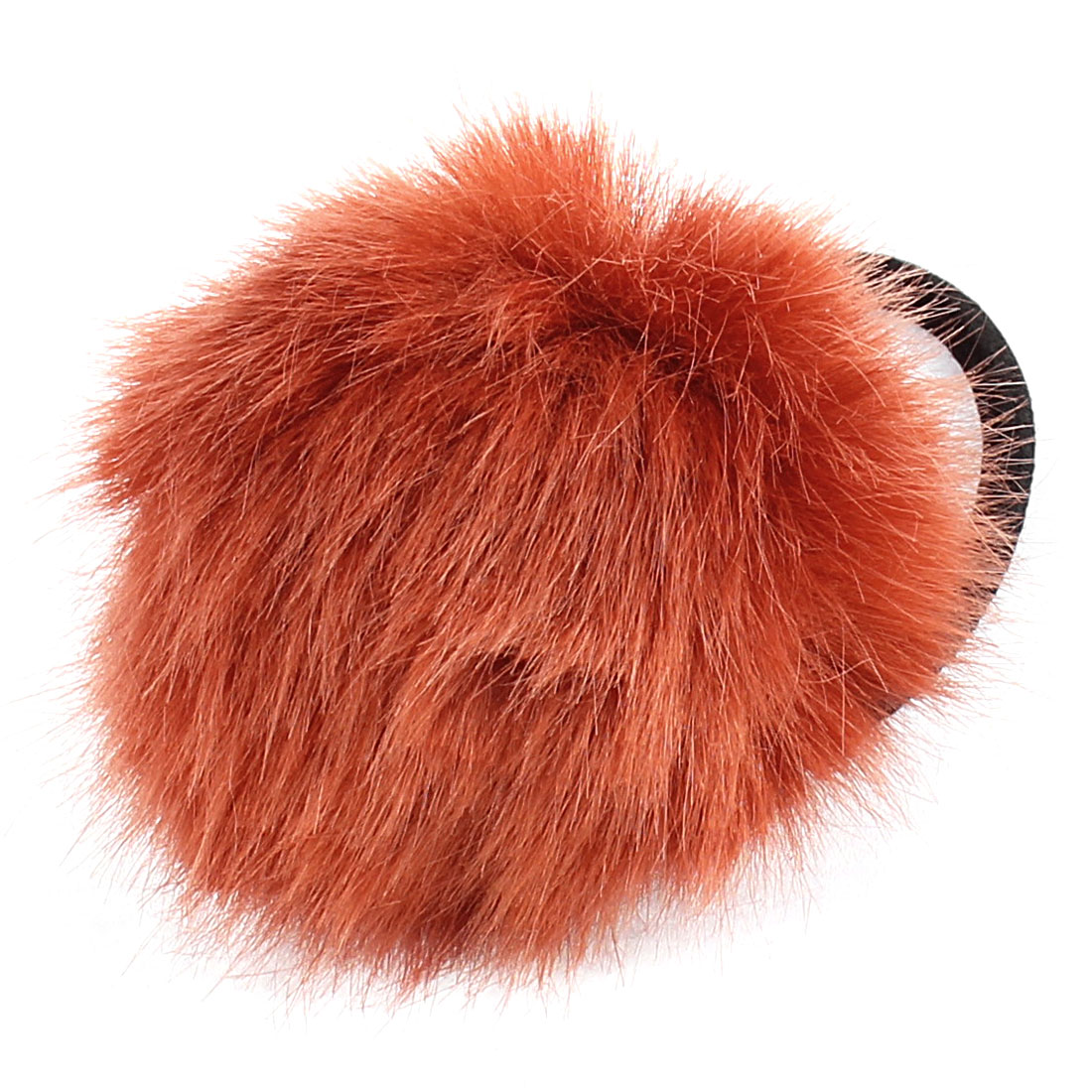 Lady Fluffy Faux Fur Decor Stretchy Band Hair Tie Ponytail Hairband Medium Brown