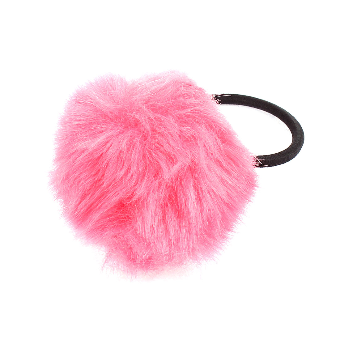 Lady Fluffy Faux Fur Decor Stretchy Band Hair Tie Ponytail Hairband Magenta